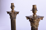 Pair of late 19th century corinthium column lamps