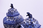 Pair of large 19th century blue and white pottery pot pourri jars and covers.  England, circa 1890