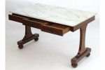 A mid 19th century mahogany marble top table by Gillows
