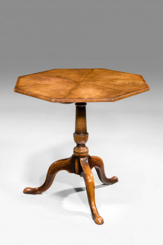 Early 20th Century Finely Figured Octagonal Tilt Table