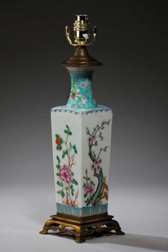 Canton Porcelain Square Vase Lamp