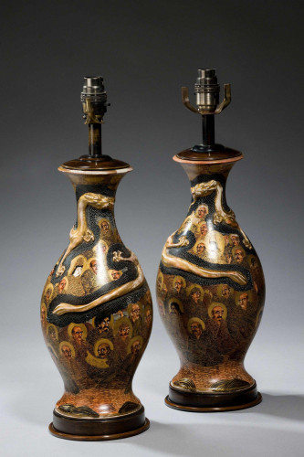 Pair of Japanese Ovoid Vase Lamps
