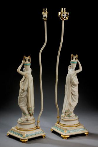 Pair of Parian Neoclassical Lamps
