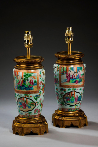 Pair of Cantonese Ovoid Lamps