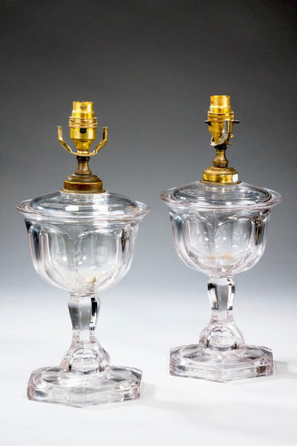 Pair of 1920's Glass Lamps