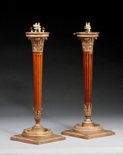 Pair of Mahogany and Gilt Bronze Column Lamps.