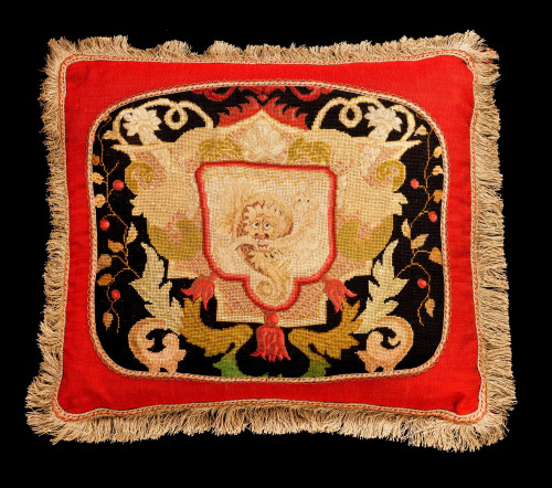 Cushion: 18th Century, Wool with a Stylised Lion.