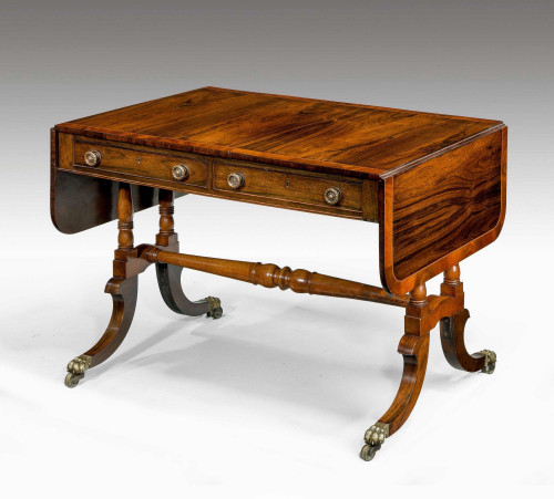 Regency Period Rosewood Sofa Table with Turned Stretcher