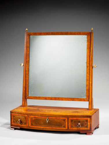 George III Period Bow Fronted Dressing Mirror