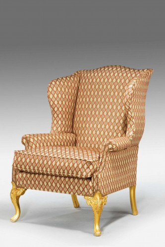 Mid 18th Century Design Giltwood Wing Chair
