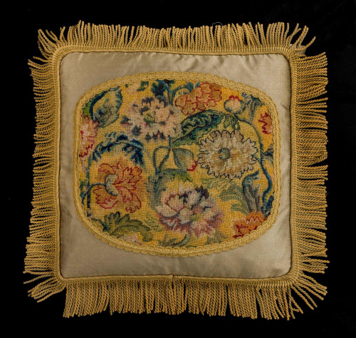 Cushion: Mid To Late 18th Century, Wool. Exotic Flowers