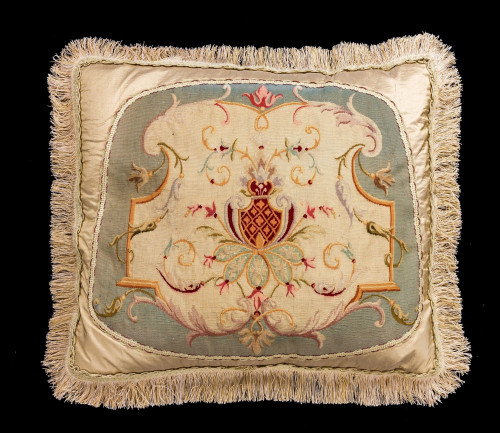 Cushion: 18th Century, Wool with an Armorial Central Cartouche