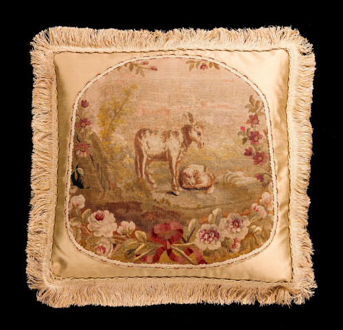 Cushion: 18th Century, Wool. Depicting a Scene from Aesop's Fables