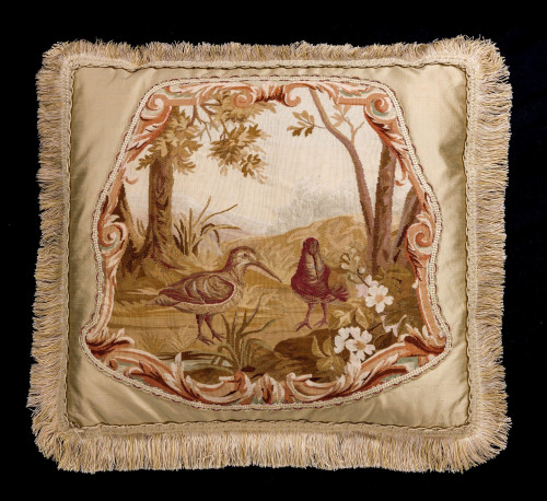 Cushion: 18th Century, Wool. Two Exotic, Long Billed Birds