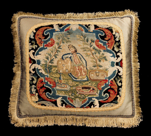 Cushion: 18th Century, Wool. Featuring a Male Figure in Turkish Dress