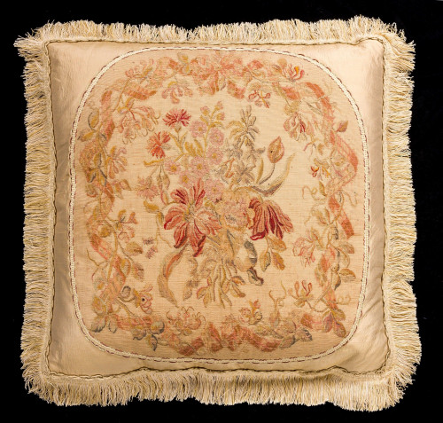 Cushion: Early 19th Century, Wool. Flowers on Champagne Background