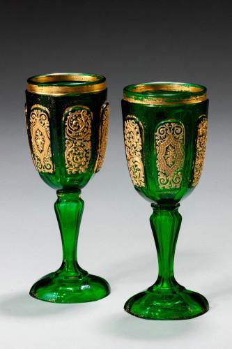Pair of Bohemian Dark Green Glass Goblets
