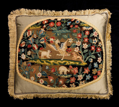 Cushion: 18th Century, Wool. Exotic Birds and Animals