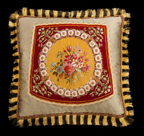 Cushion: 18th Century, Wool and Silk. A Crown of Flowers