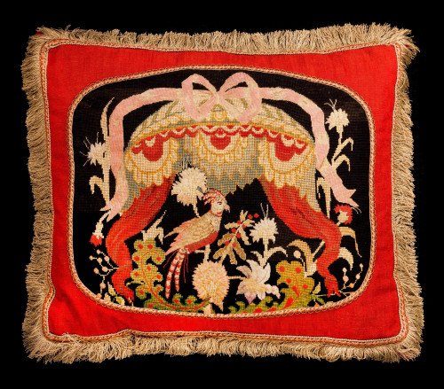 Cushion: 18th Century, Wool. An Exotic Bird.