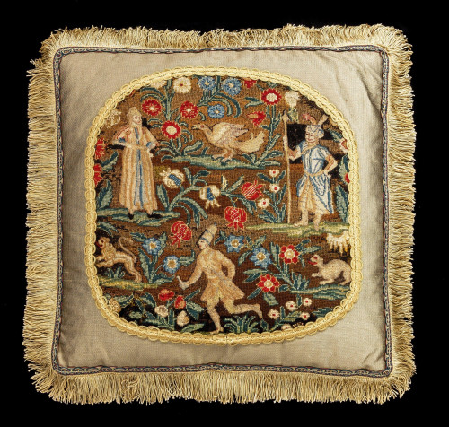 Cushion: Mid-18th Century with Exotic Birds and Figures