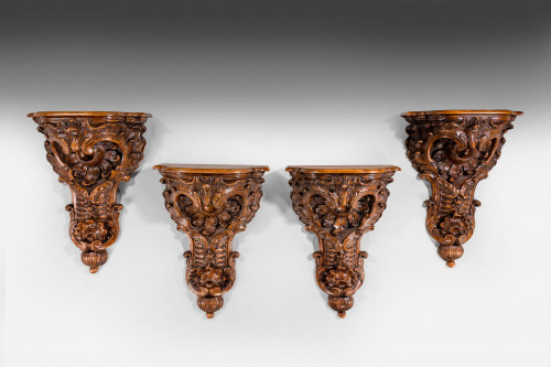 Set of Four 19th Century Walnut Brackets
