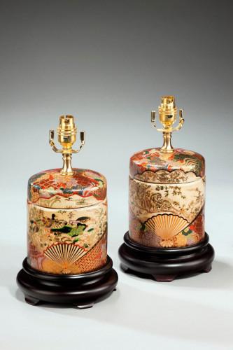 Pair of Crackleware Lamps