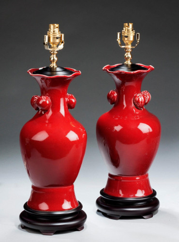 Pair of 'Sang de Boeuf' Waisted Lamps.