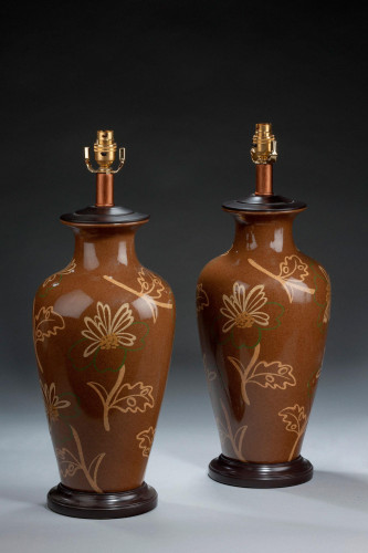 Pair of Large Ovoid Crackleware Lamps.