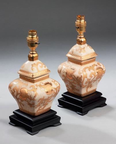 Pair of Clobbered Crackleware Lamps