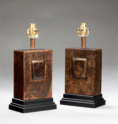 Pair of Bronzed Rectangular Shaped Lamps.