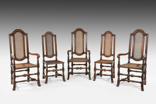 Set of 19th Century Three Elbow and Two Side Chairs
