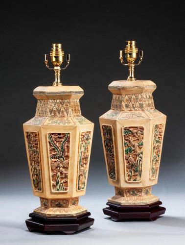 Pair of Ivorina Hexagonal Lamps