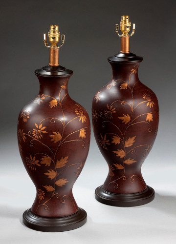 Pair of Large Softly Gilded Lamps