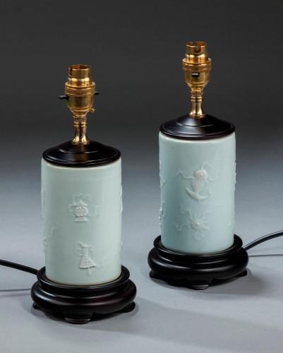 Pair of Porcelain 'Brush Pot' Lamps