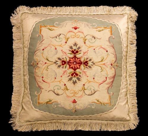 Cushion: 18th Century. Wool with Stylised Framework and Festoons
