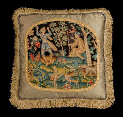 Early 18th Century Cushion. Two Figures in a Mythical Garden