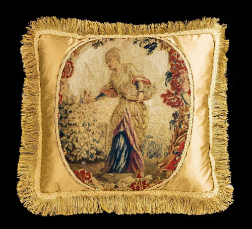 Cushion: Mid-18th Century, Wool and Silk. A Young Lady Gathering Flowers
