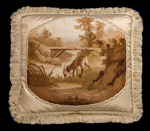 Late 18th/ Early 19th Century Tapestry Cushion. A Hunting Scene