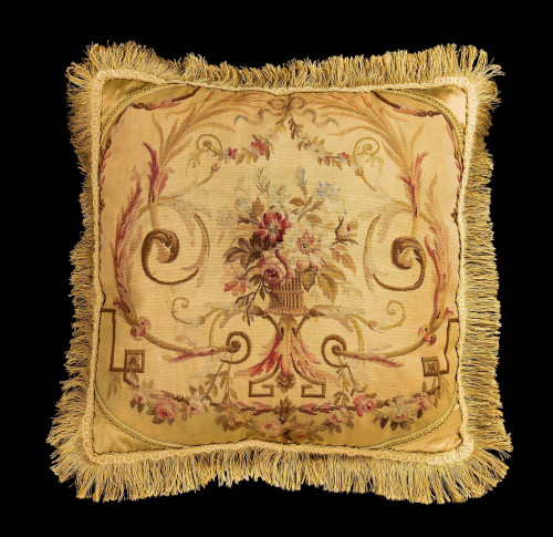 Cushion: Late 18th Century, Wool. Flowers in a Old Gold Framework