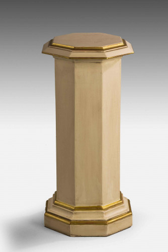 A Parcel Gilt Hexagonal Ivory Coloured Column