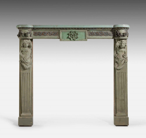 Well Carved 19th Century Pine and Gesso Fire Surround