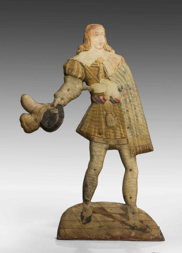 Mid-18th Century Tapestry Dummy Board of a Young Gallant