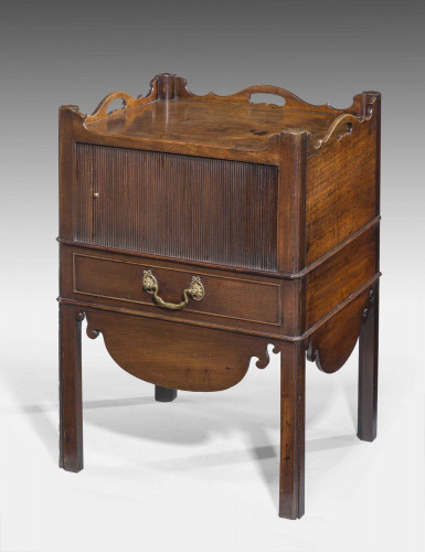 Chippenedale Period Mahogany Tambour Fronted Night Cupboard