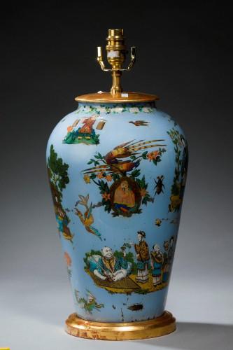 1920's Decalcomania Vase Lamp
