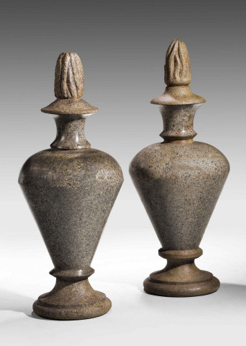 A Pair of Granite Turned and Carved Finials