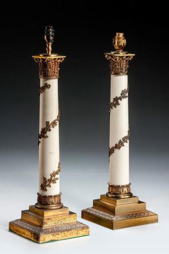 Pair of Gilt Bronze Column Lamps
