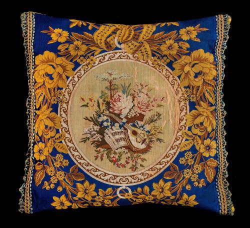 Cushion Mid 19th Century Silk on Cotton Warping