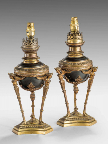A Pair Of 19th Century Gilt Bronze Oil Lamps