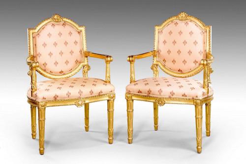Pair of Italian 19th Century Elbow Chairs